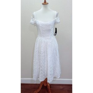 NWT LF Leslie Fay White Off the Shoulder Dress